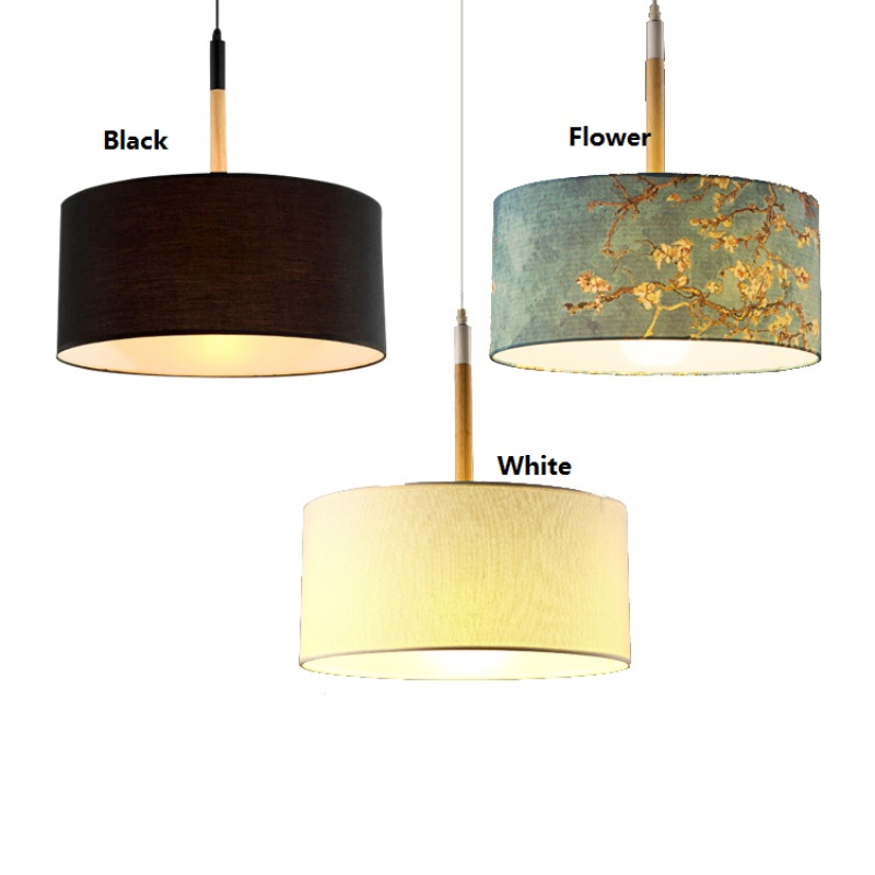 modern simple fabric shade drum chandelier light nordic hang