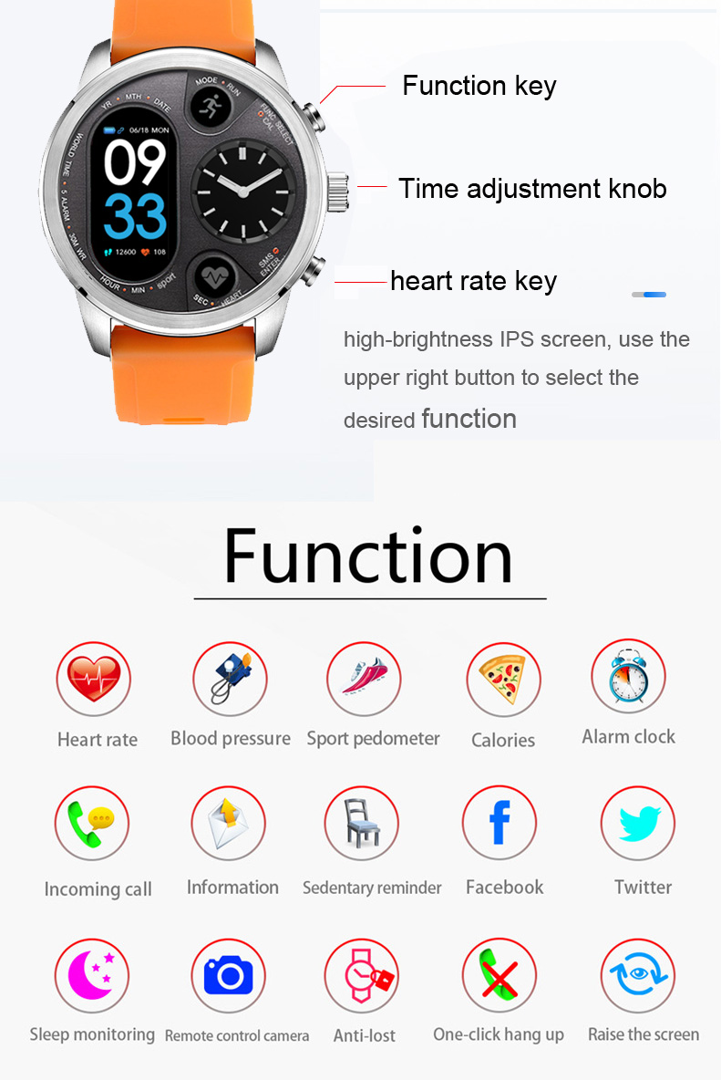 TORNTISC Smart watch T3 5ATM Waterproof Heart Rate Blood Pressure oxygen monitor Smartwatch support Dual time zone One-click hang up Outdoor Sport Smart clock (4)