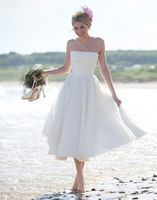 Us 139 0 2015 Newest Vestidos Summer Fall Beach Wedding Dresses A Line Zipper Strapless Wedding Party Gowns Tea Length Lace Bridal Gowns In Wedding
