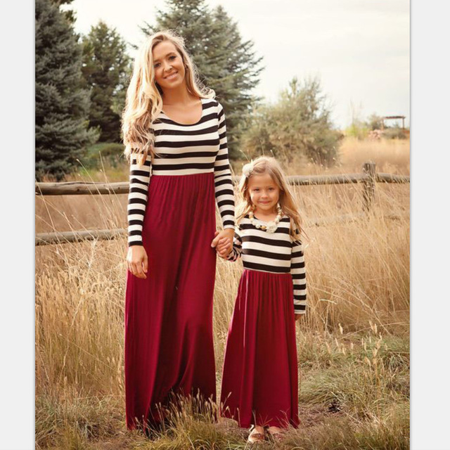 Family Matching Dresses Fall Spring Red Stripe Mother And Daughter Girl Outfits Maxi Dress