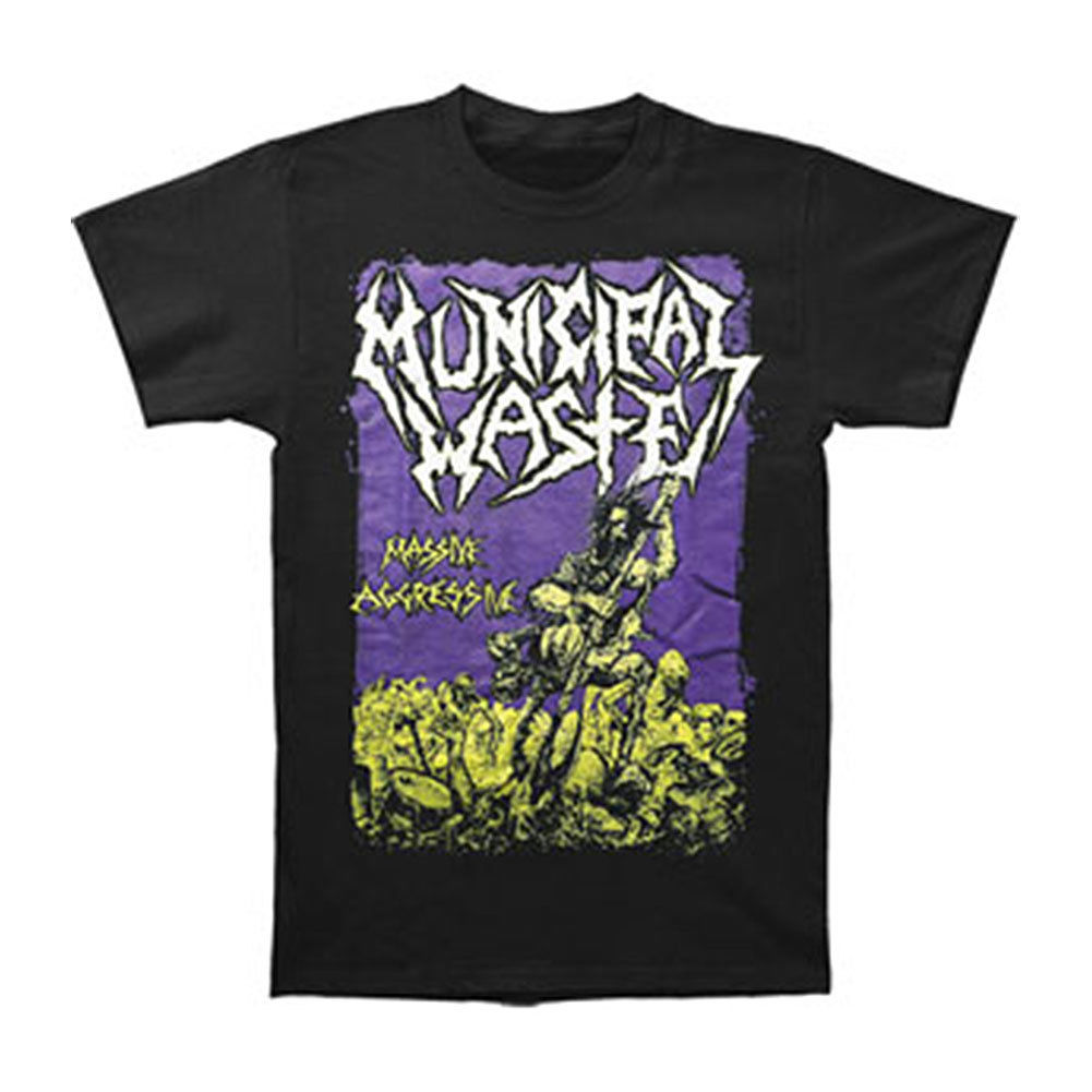 Municipal Waste Mens Massive Aggressive On Black T-shirt Black Rockabilia