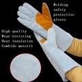 Долго Стиль Сварочные перчатки безопасности труда защитные износостойкости теплоизоляции теплые перчатки рабочие