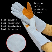 Long Style Welding gloves security labor protecting wear-resisting Heat insulation cowhide work gloves