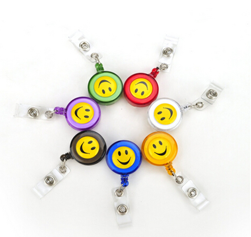10 Pcs/lot Compact Design Smiling Face ID Holder Name Tag Card Key Badge Holder Retractable Round Solid Translucent ID Holder