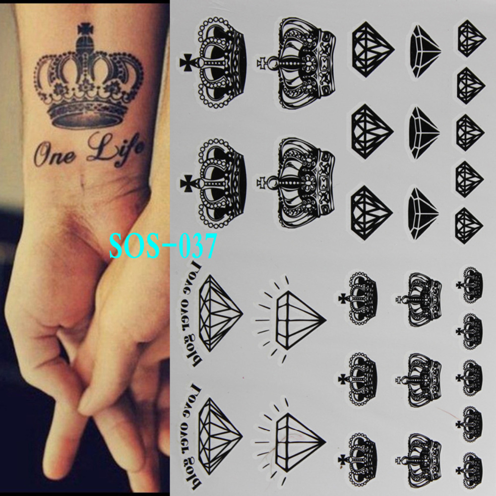 Black tattoo Diamonds Crowns temporary tattoo flash tattoos body art 3d tattoo painting shiny disposable indian henna tatuagem