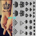 Tatuaje negro Coronas de Diamantes flash del tatuaje temporal tatuajes cuerpo arte del tatuaje 3d pintura brillante desechable indio henna tatuagem
