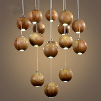 vintage Pendant Lamp 16 heads industrial cage lighting Modern Classic Fashion Wood suspension luminaire industrie