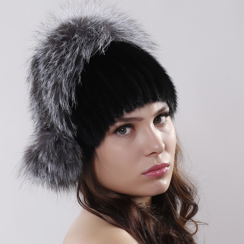 Genuine Knitted Mink Fur Hat With Silver Fox Fur Pom Poms Beanies Winter Russia Style Women Real Fur Cap headdress
