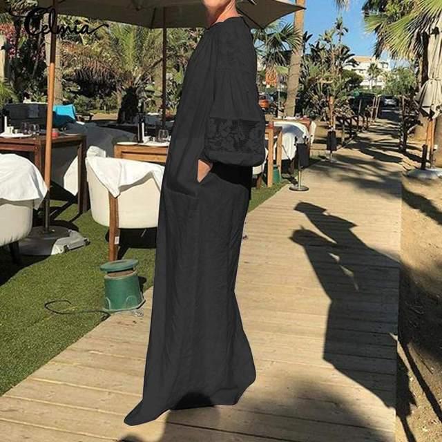 Celmia Women White Dress 2020 Summer Bohemian Casual Loose Lace Maxi Long Sundress Long Sleeve Shirt Party Vestidos Plus Size 2