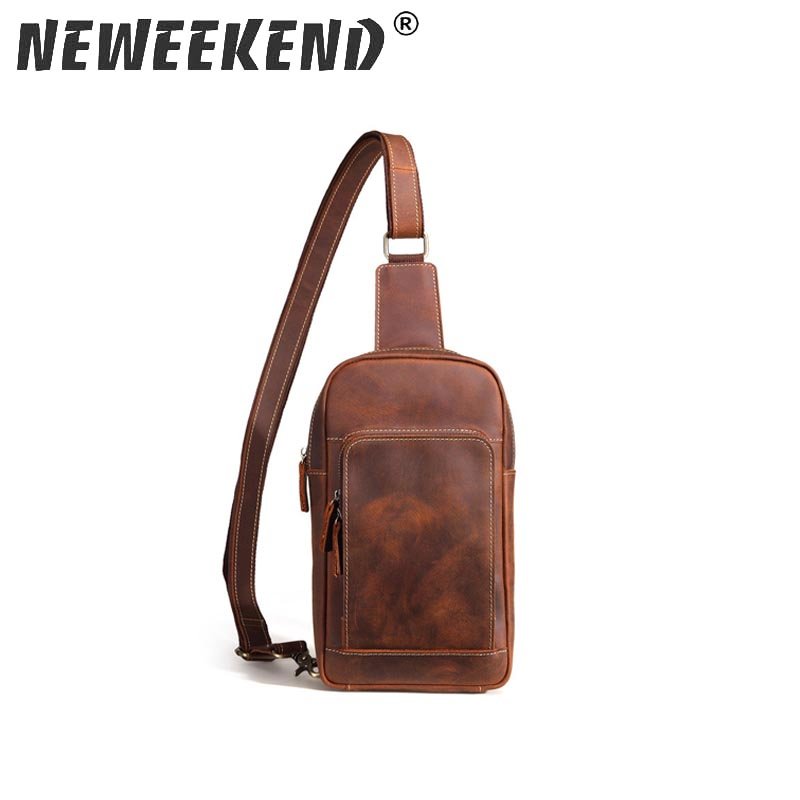 Neweekend Famous Brand Mens Sling Bag Single Shoulder Bag Men Leather Chest Pack Crossbody Bag for Man Bolsas Masculina SF067 mva genuine leather mens sling bag single shoulder bag men chest pack messenger crossbody bag for man bolsas masculina