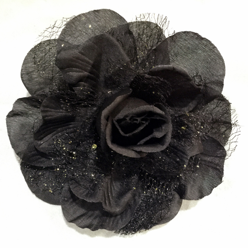 13cm Rose Artificial Flower with Lace with hair clip pin and Rubber Band Hair Scrunchy 1pc one container
