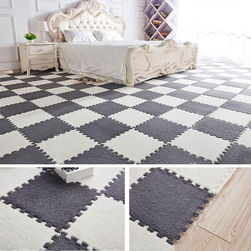 Play-Mats Carpet-Decorative EVA Plush-Puzzle Crawling Foam Kids Velvet 1cm for 9-Colors