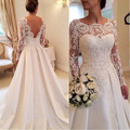 Elegante Vestidos de Noiva de renda manga longa vestido de casamento Backless Vestidos de Noiva Plus Size cetim A linha Robe de Mariage