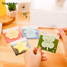 Candy Color Memo Sticker Paper Kawaii Star Apple Bookmark Memo Sheets Pad Sticky Note School Office Supplies Korea Stationery 1pcs korean cat rabbit sheep stationery memo pad week plan memo sticky note set agenda sticker office school supplies