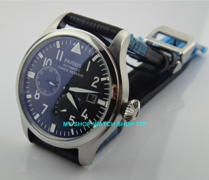47 mm PARNIS Black dial Automatic Self-Wind movement power reserve men watches Mechanical watches G003A 1