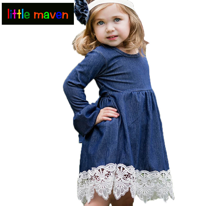 2018 Baby girls dress with lace hem Carnaval or wedding dress for spring autumn Childrens Clothes Kids Dresses Elegant Style