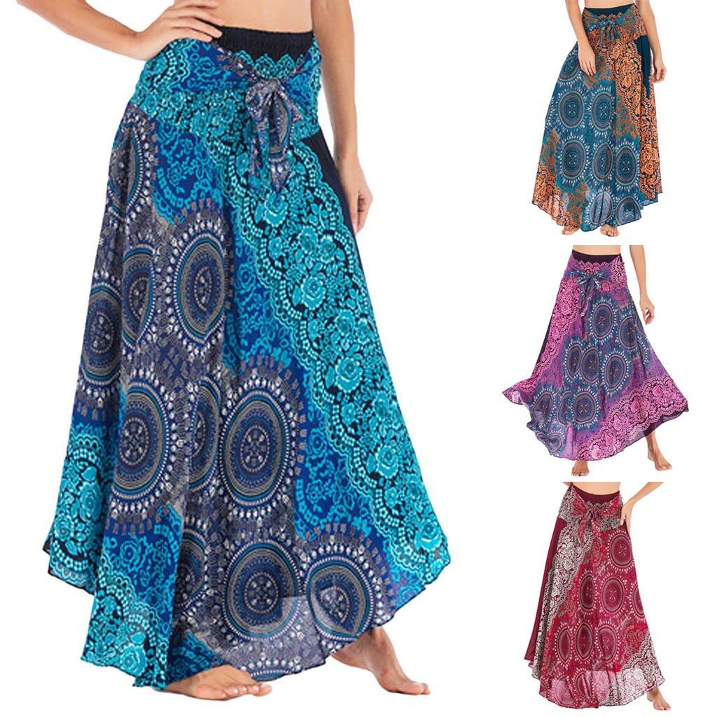 Elegante 2019 Nova Sexy Mulheres Long Gypsy Boho Hippie Bohemian Flores Cintura Elástica Floral Halter Saia Falda corta melhor venda