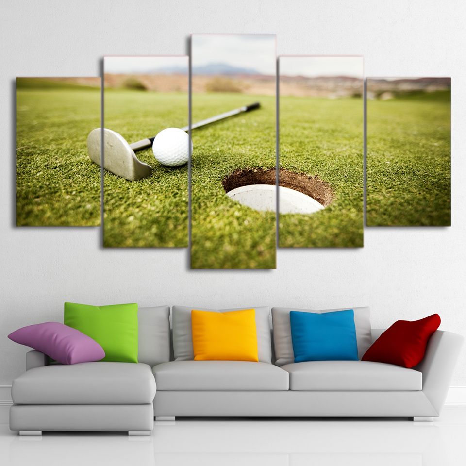Framework 5 Panel Wall Picture Golf Ball Landscape Canvas Wall Art ...