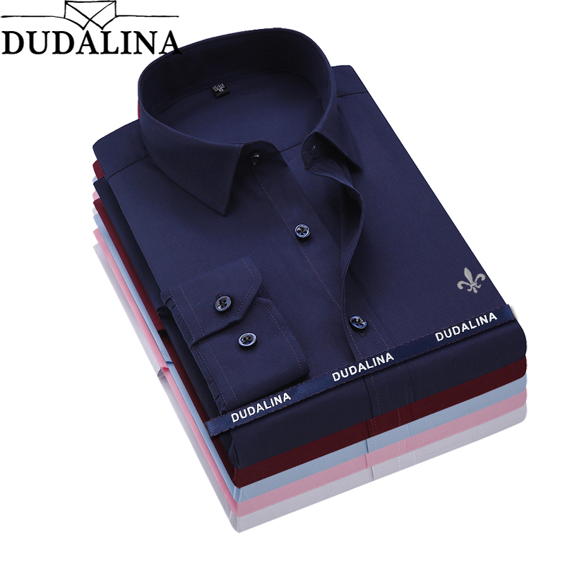 Dudalina Camisa Male Shirts Long Sleeve Men Shirt No Pocket Brand Clothing Casual Slim Fit Camisa Social Masculina Chemise Homme