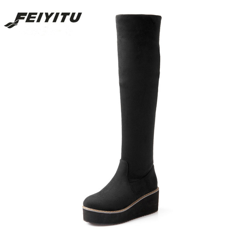 feiyitu New Fall fashion elastic knee boots Female platform boots Large size shoes women Motorcycle boots Black Blue Red freestyle revolution new red blue women s size large l junior ikat print shorts