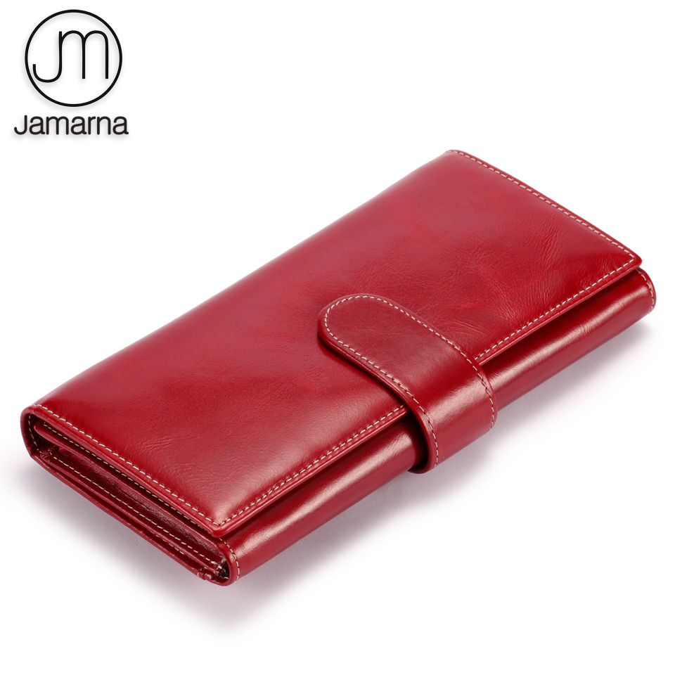 Jamarna Wallet Female Women Wallets Genuine Leather Phone Purse Zipper Pocket For Coin Trifold Credit Card Holder Oil Wax baellerry double zipper women business card holder wallet oil wax leather purse female name bank credit cards driver license bag