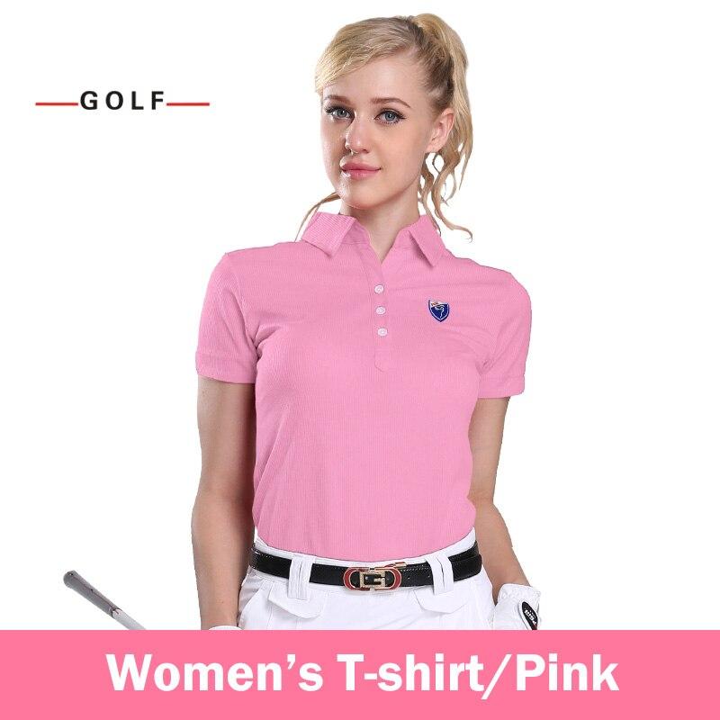 Ladies Golf Clothing Sports Shirts Short Sleeve T-shirt Genuine(Pink)