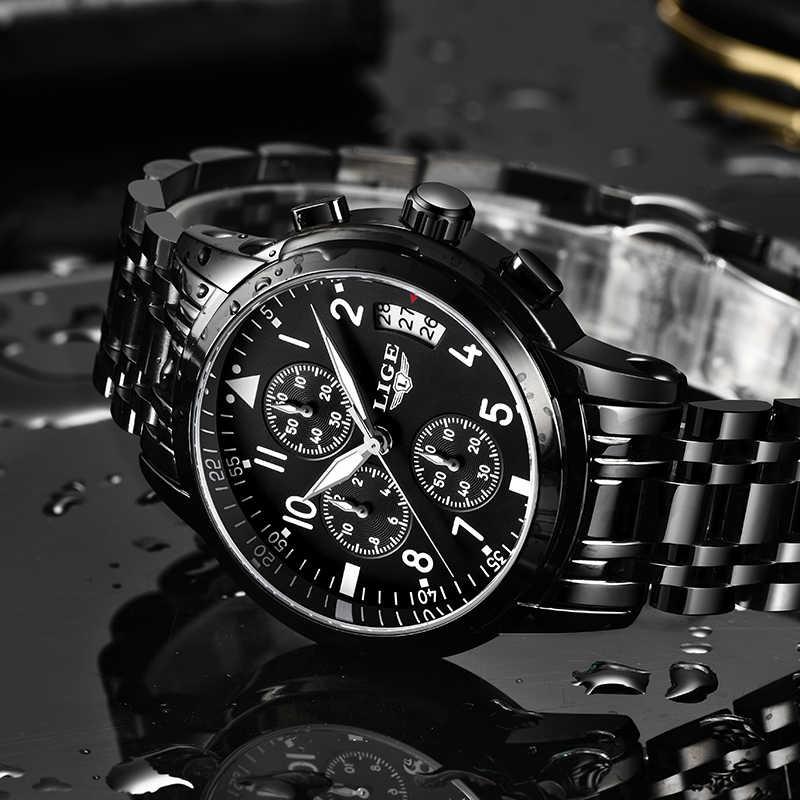 LIGE мужские s часы лучший бренд класса люкс Модные Бизнес Кварцевые часы мужские спортивные все стальные водонепроницаемые черные часы erkek kol saati + коробка