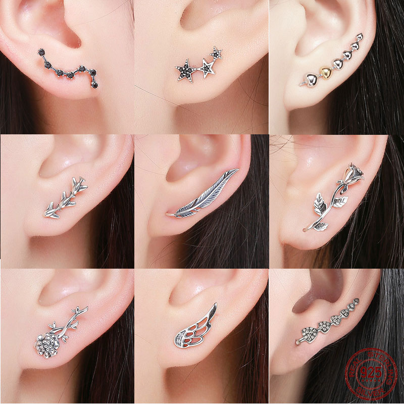 925 Sterling Silver Korean Feather Rose Flower Star Plane Cuff Stud Earrings for Women Fashion Women Earrings 2018 brincos s925 pair of stylish rhinestone triangle stud earrings for women