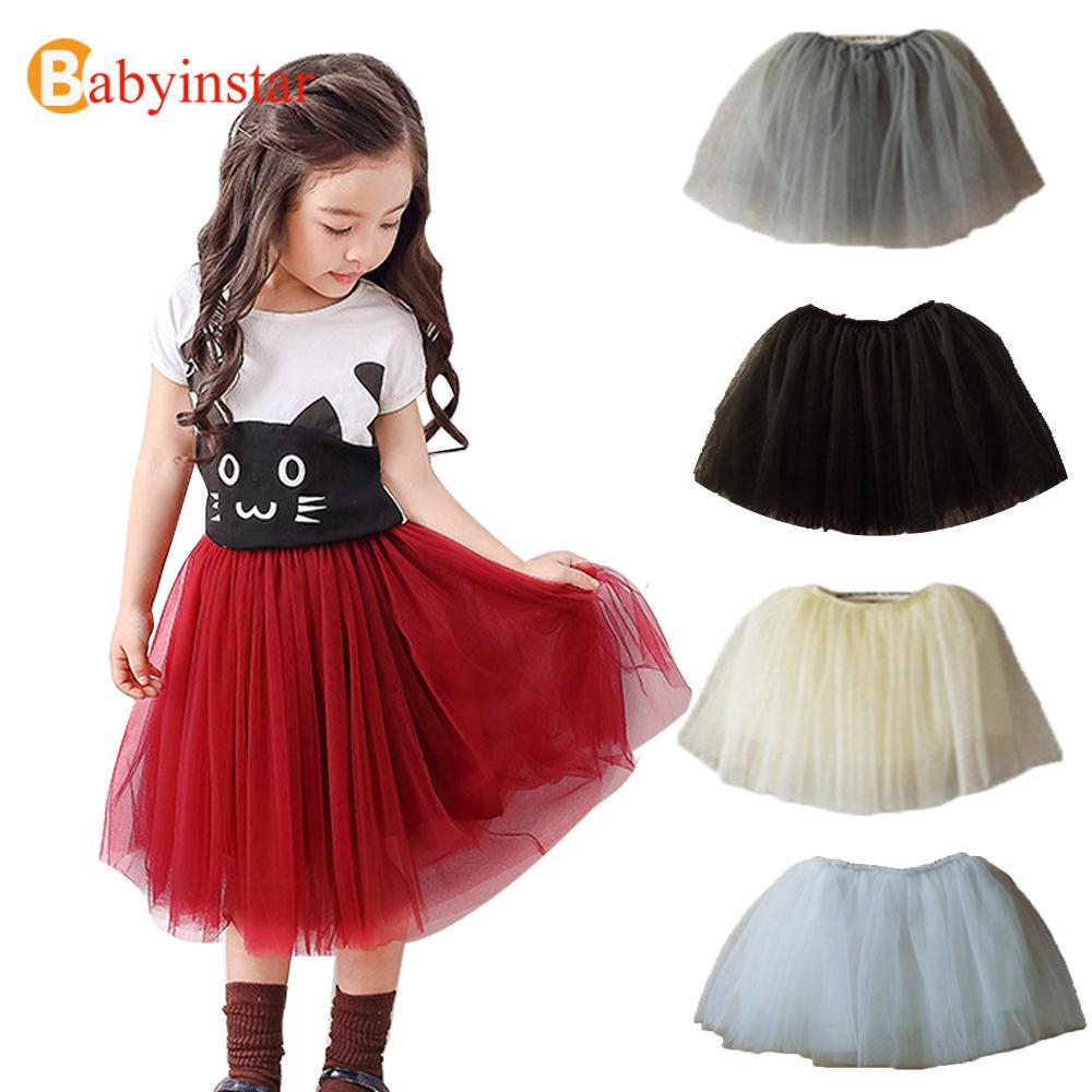 2016 Spring Fall Girls Skirt Five Colors Mesh Princess ...