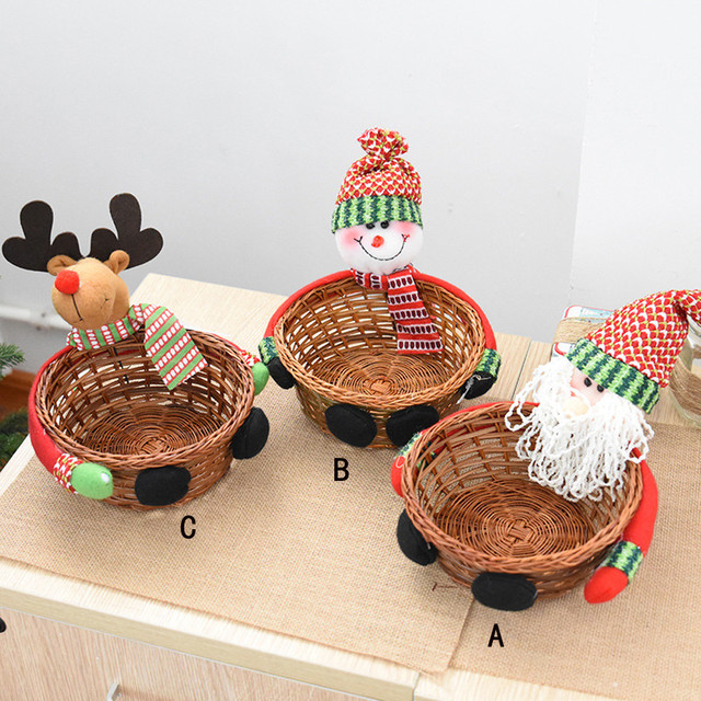 Christmas Decoration Candy Gift Biscuits Storage Basket Santa Snowman Elk Home Decor Party Kids Festival