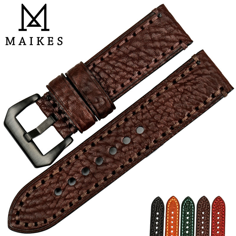 MAIKES Good quality watch strap 20 22 24 26mm watch accessories Italian leather watchbands watch bracelet for Panerai watch band(China)