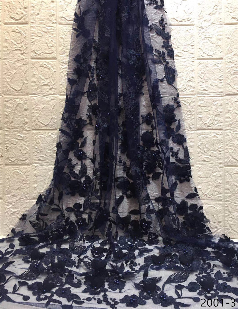 Dark blue Nigerian French Lace Fabrics 2019 African Tulle Lace Fabric High Quality African Lace Wedding Fabric For Dress 2001Dark blue Nigerian French Lace Fabrics 2019 African Tulle Lace Fabric High Quality African Lace Wedding Fabric For Dress 2001