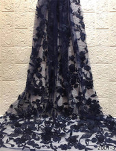 Dark blue Nigerian French Lace Fabrics 2019 African Tulle Lace Fabric High Quality African Lace Wedding Fabric For Dress 2001 цена и фото