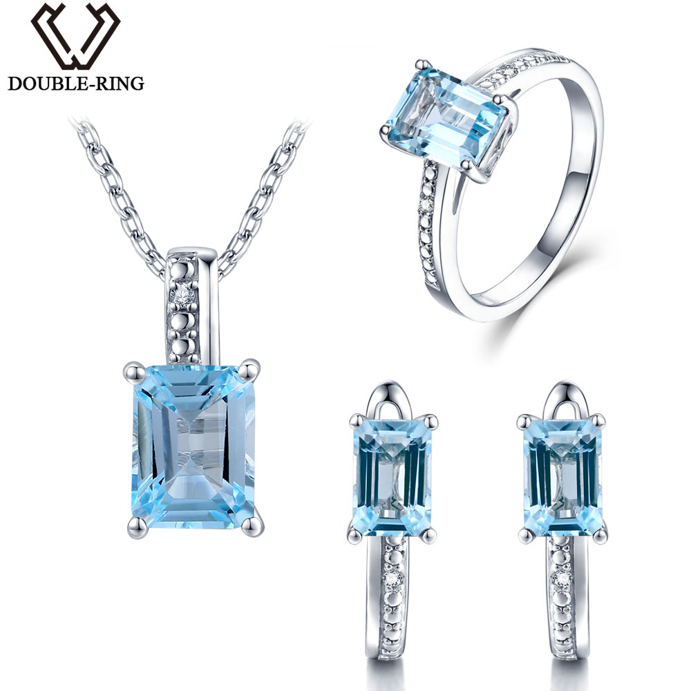 DOUBLE-R Diamante Reale Set di Gioielli Da Sposa Femminile 5.25ct Natural Blue Topaz 925 Sterling Silver Ring Orecchino Pendente del regalo Delle Donne