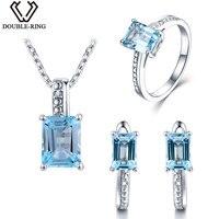 DOUBLE-R Real Diamante Conjuntos De Jóias de Noiva do Sexo Feminino 5.25ct Natural Topázio Azul 925 Anel de Prata Esterlina Brinco Pingente Mulheres presente