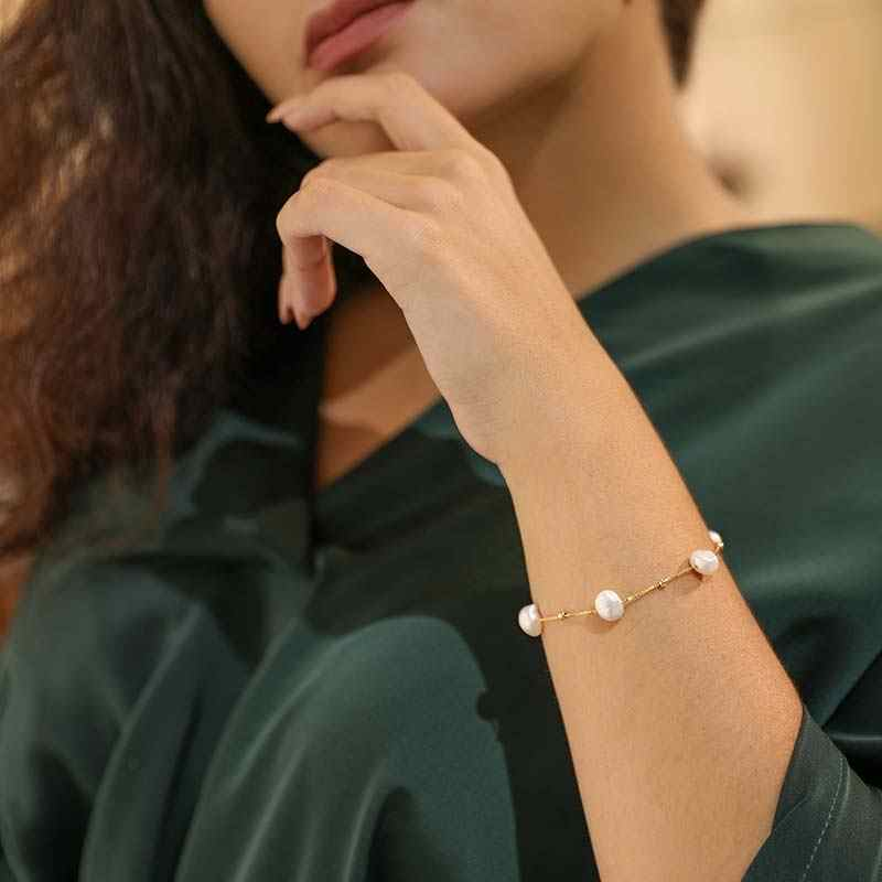 DAIMI Personality Fashion Pearl Bracelet Floating Pearl With Silver Ball Chain Bracelet For Gift