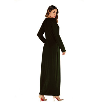 5 styles  Muslim abayas dress for Women dubai Clothing Polyester O-Neck Solid kaftans