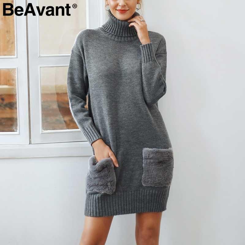 BeAvant, элегантное, водолазка, женское, вязаное платье с меховым карманом, для девушек, вязанное, платье-свитер, серое, 2018, свободное, Осень-зима, платье для женщин