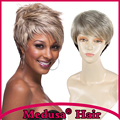 Medusa hair products: Heat resistant Synthetic pixie cut wig for women Short straight blonde wigs with bangs Peruca loira SW0009
