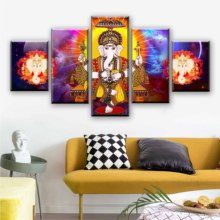 Modular Canvas Painting Wall Art Pictures 5 Pieces Hindu Lord Ganesha Living Room God Of Wisdom Poster Decor Framed
