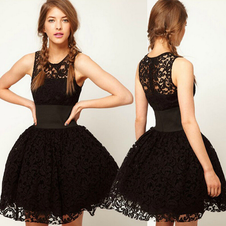 New Fashion Ball Gown Knee Length Cocktail Dresses Black Lace Sexy ...