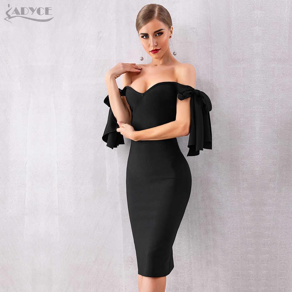 Adyce 2019 новое летнее женское Бандажное платье Vestido черное с вырезом лодочкой вечерние платья знаменитостей элегантное облегающее Клубное платье с открытыми плечами