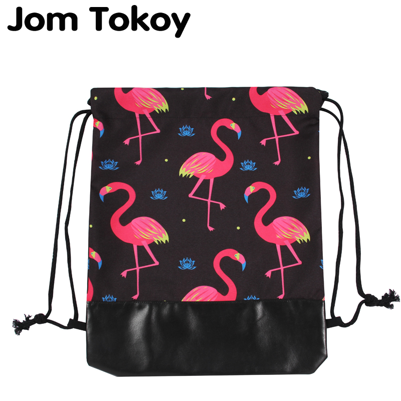 Jom Tokoy New 3d Leather Bottom Drawstring Bags Women Drawstring Backpacks Flamingo Mochila Feminina Escolar