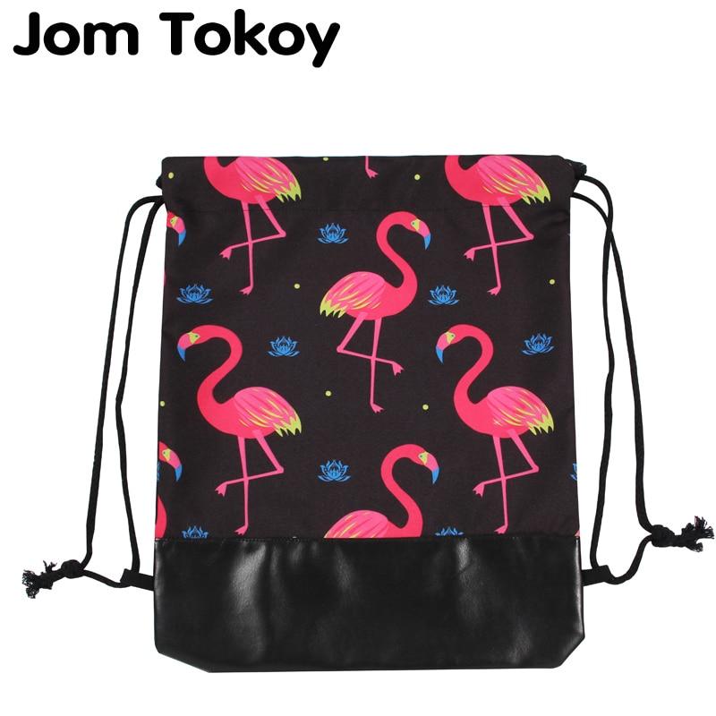 Jom Tokoy New 3d Leather Bottom Drawstring Bags Women Drawstring Backpacks Flamingo Mochila Feminina Escolar