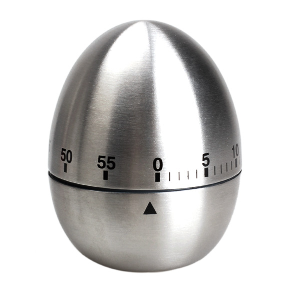 Hot Sliver Mechanical Egg Kitchen Cooking Timer Alarm 60 Minutes Stainless Steel Sale LXY9 DE1717