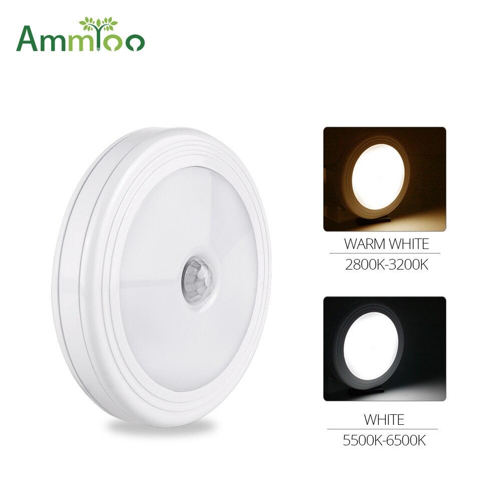 AmmToo Magnetic Motion Sensor Under Cabinet Light Induction Lamp Closet Corridor Cabinet kitchen Led Sensor Light Battery Power Under-cabinet lighting