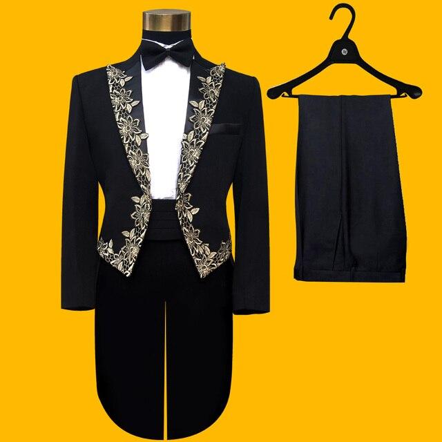 2016 новый стиль черный Смокинг Костюмы тонкий Магия мусора королевский брак певец производительности laciness смокинг вечерние платья