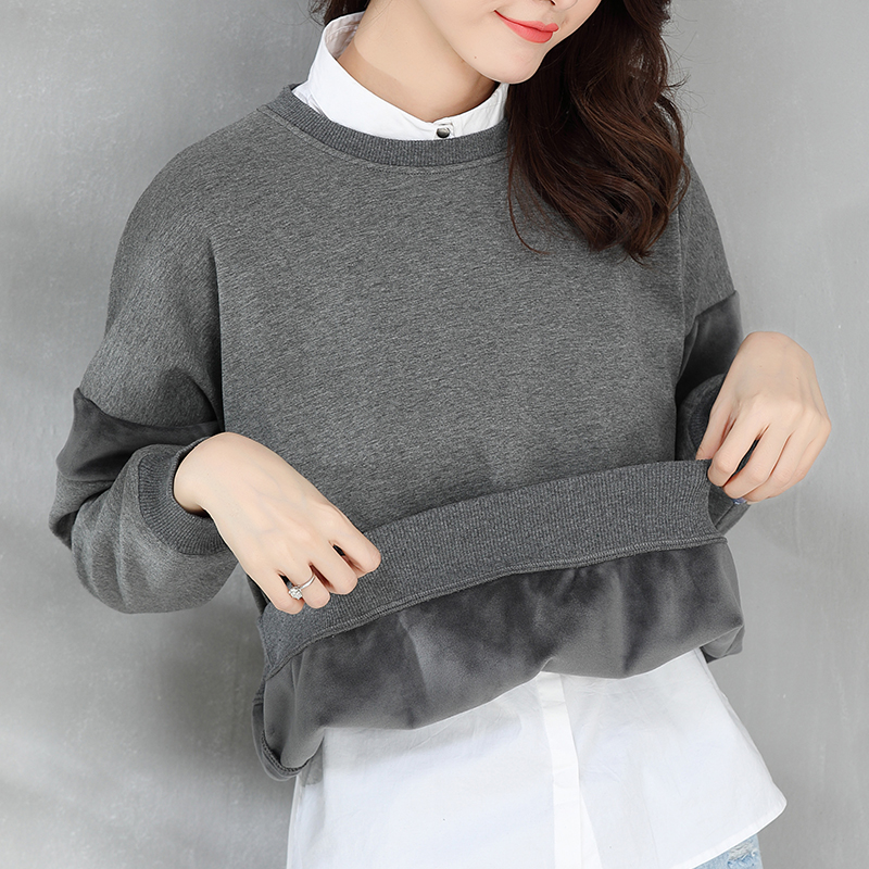 Autumn Clothing Female Loose Large Size Velvet Hoodies Solid Color Winter Women Stitching Long Sleeve Sweatshirt Wild TopsMZ3171