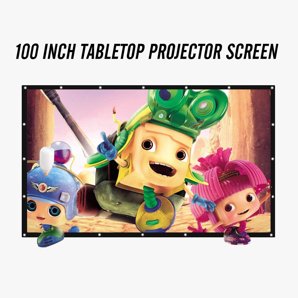 Projecteur Écran 100 Pouces 16:9 Portable Table Pliable PVC Écran 3D Lunettes Home Cinéma COOLUX YG300 XGIMI JMGO AUN