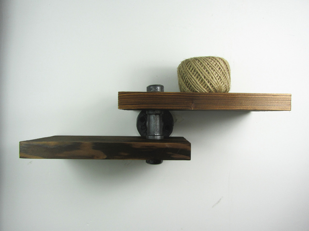 Urban industrial style iron pipe wooden wall mount shelf for Style house professional styling iron price